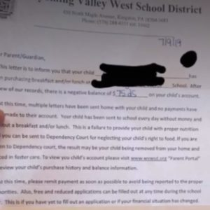 Pennsylvania School District Hammered for 'Callous' Letter Threatening Foster Care Over Lunch Debts