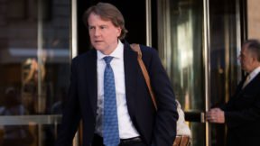 Don McGahn, then a lawyer for Donald Trump and his campaign, leaves the Four Seasons Hotel after a meeting with Trump and Republican donors, June 9, 2016 in New York City.