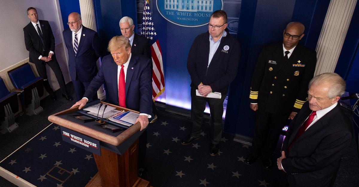 Donald Trump and coronavirus taskforce in March 22 2020 briefing via Tasos Katopodis Getty Images.'