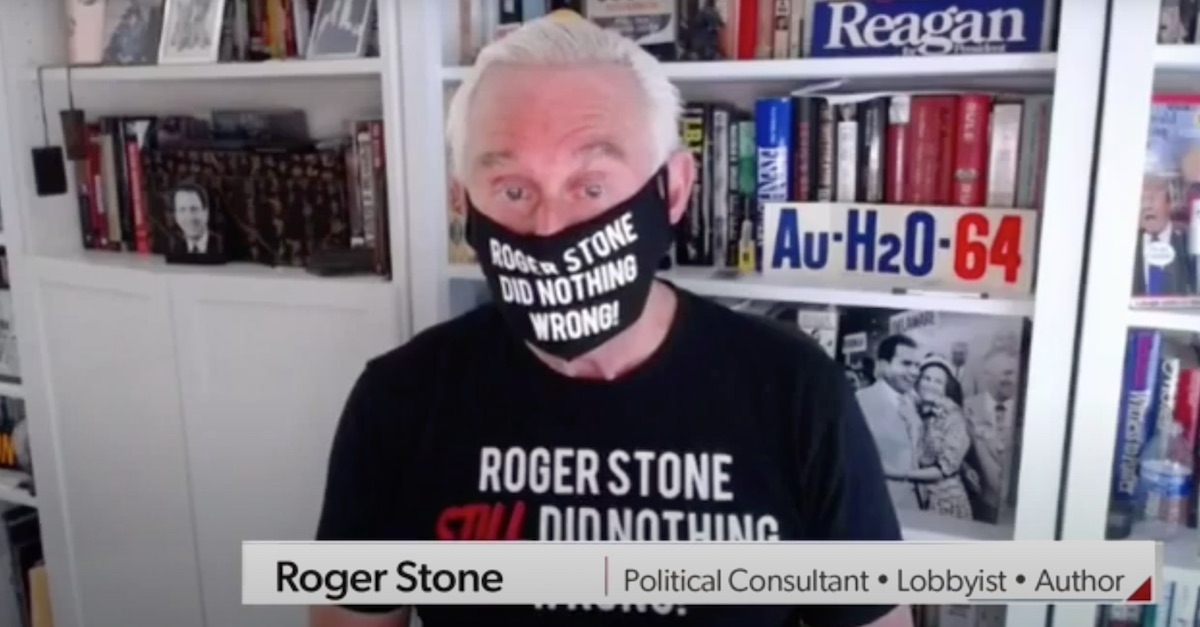 Masked Up Roger Stone Breaks His Silence, Says He Was the Victim of a 'Witch Hunt' and 'Legal Proctological Exam'