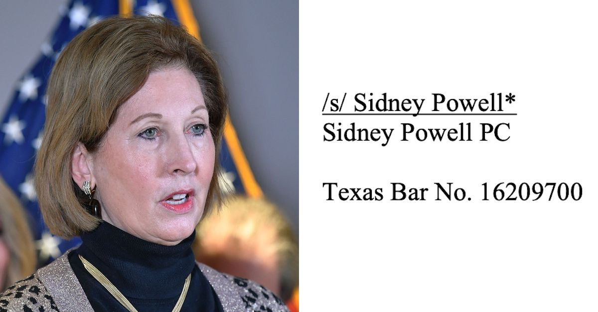 Attorney In 'Kraken' Case Tells Judge That Sidney Powell Didn't Sign Documents Which Bear Her Electronic Signature