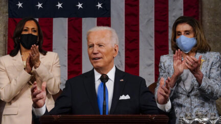 President Biden addresses Congress, with Nancy Pelosi on his left and Vice President Kamala Harris at his right