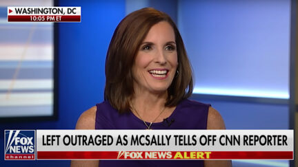 A still frame shows then-Senator Martha McSally appearing on Fox News.