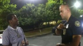 Rayshard Brooks and Garrett Rolfe moments before Brooks was shot and killed