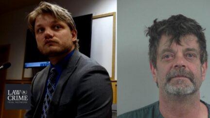 Cory Redwine in court (left), and mugshot of Mark Redwine