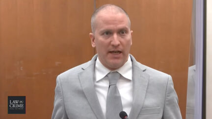 Derek Chauvin pictured at sentencing