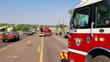 Fire trucks respond to vehicle attack on cyclists in Arizona