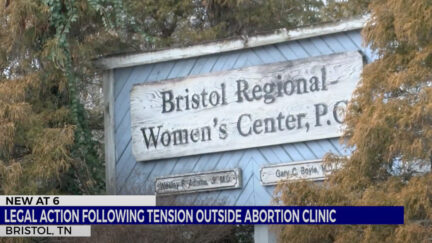 A video screengrab from WJHL-TV shows the sign to the Bristol Regional Women's Center