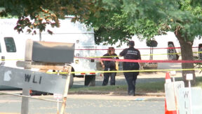 Investigators at the scene where Robert Terry murdered his wife then committed suicide.