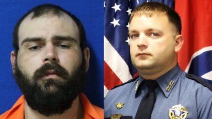 Mugshot of Steven Wiggins (left), and image of Sgt. Daniel Scott Baker.