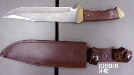 Police in Berea, Ohio say a man playing a haunted house character at a county fairgrounds brought this knife from home and accidentally stabbed a boy.