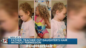 A before photo (middle) and after photos (left and right) show Jurnee Hoffmeyer's hair cuts. (Image via screengrab from Flint-Saginaw-Bay City, Mich. ABC affiliate WJRT.)
