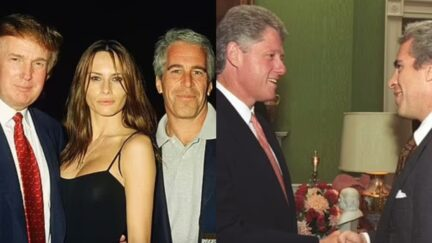Donald Trump and Bill Clinton pose for photographs with Jeffrey Epstein