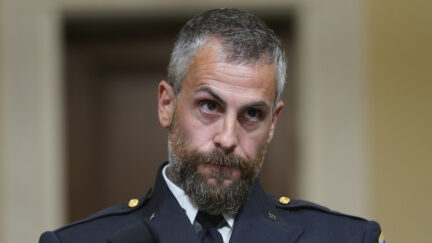 Washington, D.C. Metropolitan Police Department officer Michael Fanone listens during a July 27, 2021 hearing of the House Select Committee investigating the January 6 attack on the U.S. Capitol. (Photo by Andrew Harnik-Pool/Getty Images)