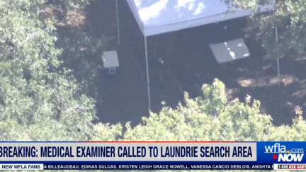 One of several law enforcement tents was erected near the entrance to the Myakkahatchee Creek Environmental Park on Wed., Oct. 20. (Image via screengrab from WFLA-TV/YouTube.)