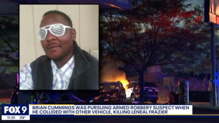 Leneal Frazier (inset) appears in a photo superimposed over video of the aftermath of the violent crash. (Image via KMSP-TV screengrab.)