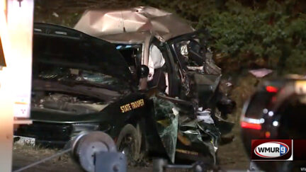 A tractor-trailer collision destroyed a vehicle driven by New Hampshire State Police Staff Sgt. Jesse Sherrill on Oct. 28, 2021. Sgt. Sherrill died as a result of the crash. (Image via screengrab from WMUR-TV.)