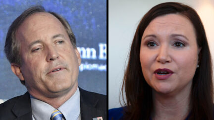 A split screen image shows Ken Paxton and Ashley Moody in separate appearances.