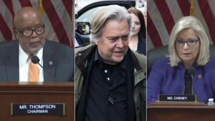 Rep. Bennie Thompson, Steve Bannon, and Rep. Liz Cheney